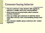 Consumer buying behavior retail