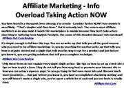 Affiliate Marketing - Info Overload Taking Action NOW