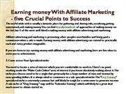 Earning money With Affiliate Marketing - five Crucial