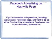 Facebook Advertising on Nashville Page