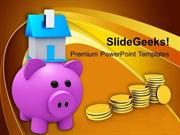 PIGGY BANK WITH HOUSE AND SAVINGS POWERPOINT TEMPLATE
