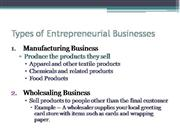 What are the types of entrepreneurial businesses
