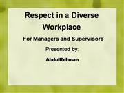 Respect in a Diverse Workplace