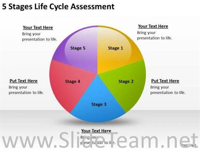 5 Stages Life Cycle Process Powerpoint Diagram