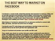 The best way to Market on Facebook