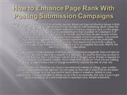 How to Enhance Page Rank With Posting Submission