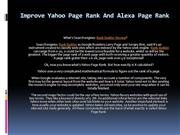 Improve Yahoo Page Rank And Alexa Page Rank