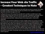 Increase Your Web site Traffic - Greatest Techniques