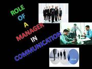 ROLE OF A MANAGER IN COMMUNICATION