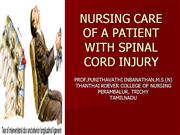 nursing care of a patient with spinal cord injury