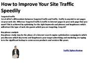 How to Improve Your Site Traffic Speedily