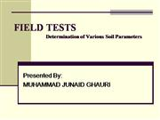 Field Tests soil parameters