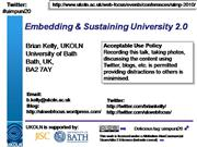 Embedding and Sustaining University 2.0