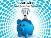 PIGGY BANK WITH TROPHY SAVINGS POWERPOINT TEMPLATE
