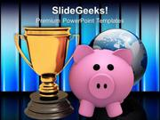 PIGGY BANK WITH TROPHY WINNER WITH SAVINGS POWERPOINT TEMPLATE
