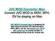 JVC MOD Converter Mac, Convert JVC MOD to MOV, MP4 for playing on Mac