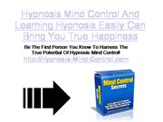 Hypnosis Mind Control And Learning Hypnosis Easily Can Bring You True