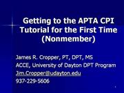 Getting to the APTA Tutorial for the first time.nonmember