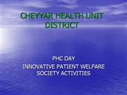 Improvement of Primary Health Centres Cheyyar HUD NRHM