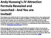 Andy Hussong's JV Attraction Formula Revealed and Launched 2