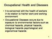 OCC HEALTH HAZARDS