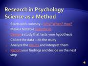 Research in Psychology Fall 10 slideshow PP