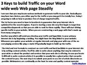 3 Keys to build Traffic on your Word wide web Web page Steadily 1