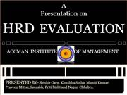 HRD EVALUATION AND AUDIT