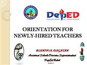 ORIENTATION FOR NEWLY-HIRED TEACHERS