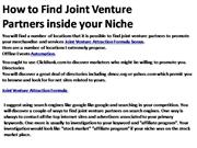 How to Find Joint Venture Partners inside your 2