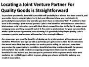 Locating a Joint Venture Partner For Quality Goods 1