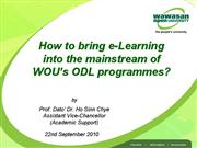 WOU eLearning Initiatives