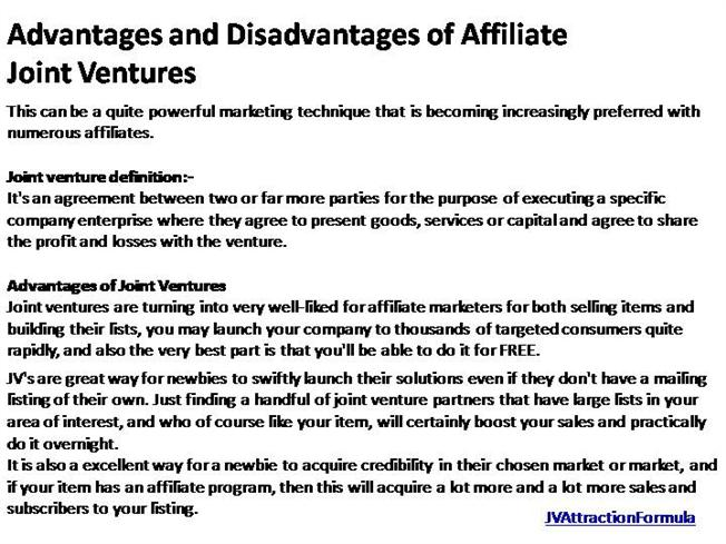 Advantages And Disadvantages Of Affiliate Joint Ventures 1 Authorstream