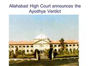 The Ayodhya Verdict