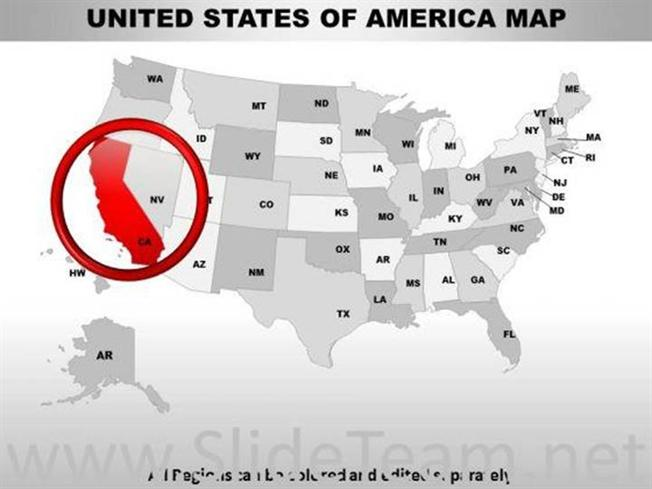 EDITABLE USA CALIFORNIA STATE POWERPOINT MAPS-PowerPoint Diagram