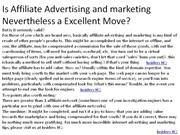 Is Affiliate Advertising and marketing Nevertheless a Excellent 1