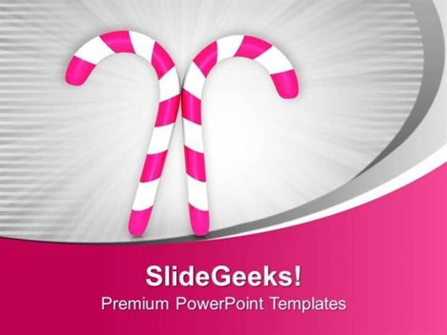 Pink Candy For Christmas Celebration Powerpoint TemplatePowerpoint