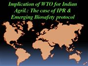 Implication of WTO for Indian Agril  The case of IPR