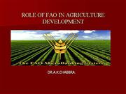 Role of FAO in Agriculture