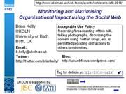 Monitoring and Maximising Organisation Impact using the Social Web