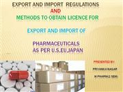 import and export of pharmaceuticals corrt