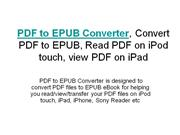PDF to EPUB Converter, Convert PDF to EPUB, Read PDF on iPod touch