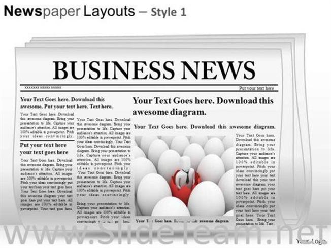 EDITABLE NEWSPAPER SLIDE LAYOUT POWERPOINT THEMESPowerPoint Diagram – Newspaper Powerpoint Template
