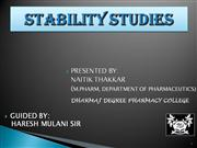 Stability Studies by NAITIK THAKKAR