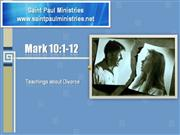 Bible Study - Mk. 10:1-12 Teachings about Divorce