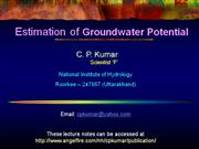 Estimation of Groundwater Potential