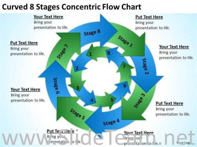 Curved 8 Stages Concentric Chart Ppt Slides Powerpoint Diagram