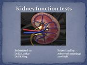 Kidney function tests PPT 2003
