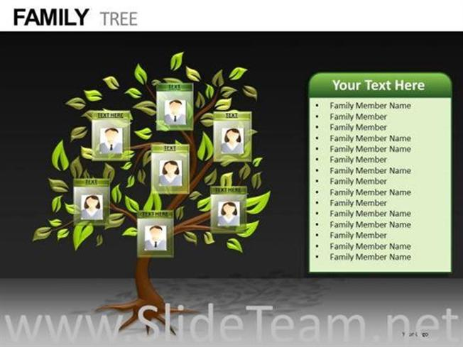 Editable Photos Family Tree Powerpoint Diagram