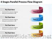 4 STAGES PARALLEL PROCESS FLOW DIAGRAM FOR POWERPOINT SLIDES
